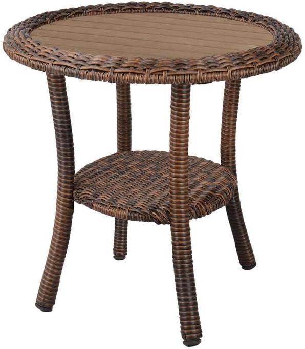 outdoor side table hampton bay cambridge brown wicker