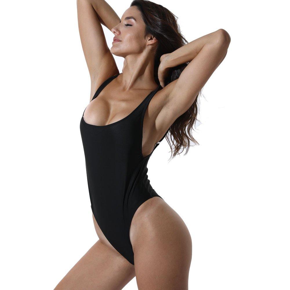 2200c9a3b01d0 CROSS1946 Sexy Womens Monokini Retro One Piece High Cut Low Backless Cheeky Swimwear  Swimsuits at Amazon Women's Clothing store: