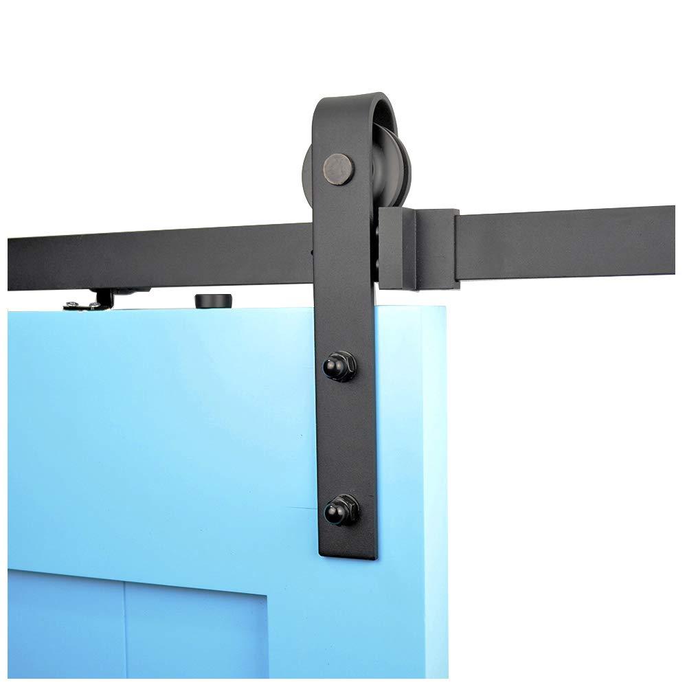 Diyhd 6.6FT Soft Close Rustic Black Sliding Barn Door Hardware Track Kit-1 side soft close operation