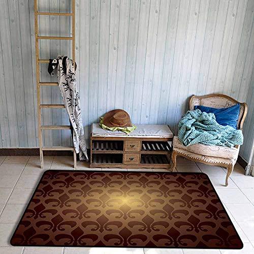 - Floor Rug Pattern Fleur De Lis Royal Lily Flower Inspired Floral Baroque Style Dark Pattern Modern Decorative Art Easy to Clean W59 xL71 Brown