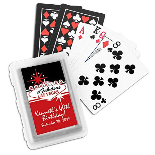 Personalized - Married in Fabulous Las Vegas Personalized Playing Cards with Stickers - 24 pcs