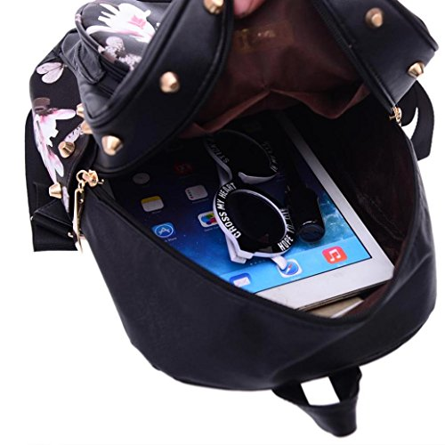 Shoulder Floral Women Girls Jareally Bag Leather Printing PU Backpack HqUYYw