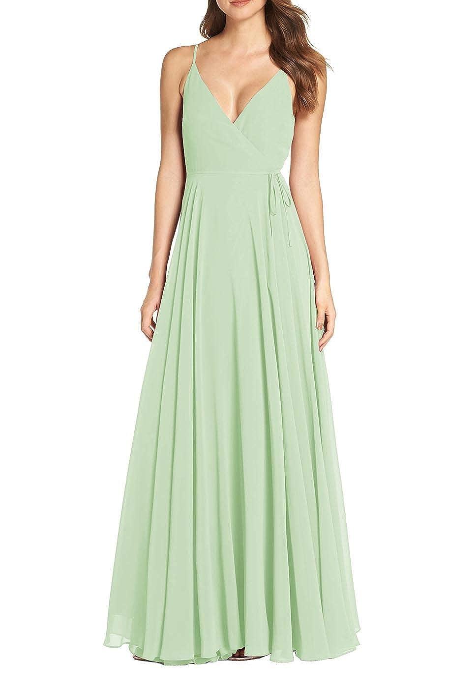 Pale Green RTTUTED Women's V Neck Sleeveless Evening Dresses Long Prom Gown Bridesmaid Maxi Skirt
