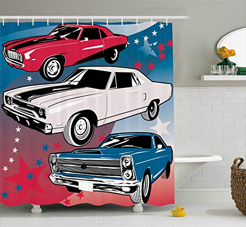 Ambesonne Cars Decor Collection, Pop Art Stylized Group of Nostalgic American Muscle Cars with Stars Steam Antique Print, Polyester Fabric Bathroom Shower Curtain Set with Hooks, Red Beige Blue