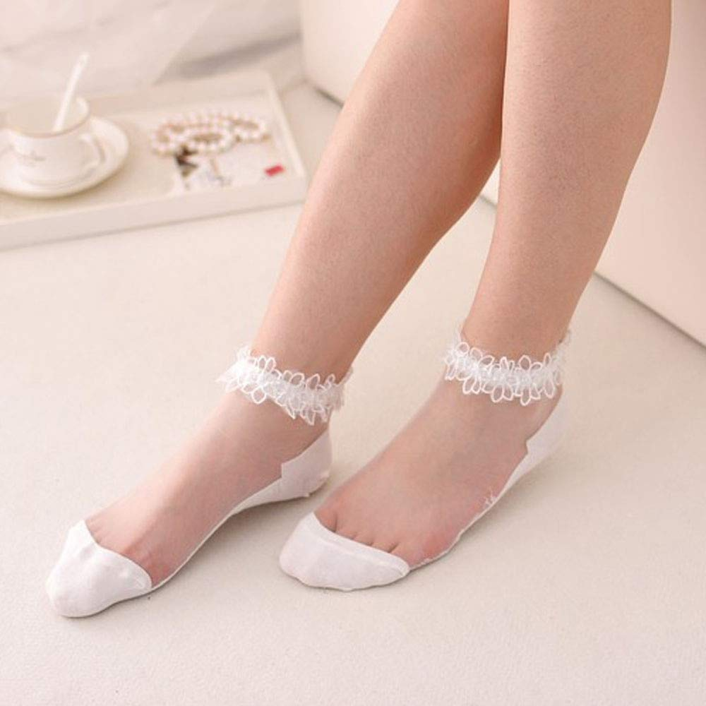 Amazon.com: GOP Store Thin Ankle Socks Women Glass Transparent Short Socks Transparent Beautiful Crystal Lace Elastic Short Socks Female: Kitchen & Dining
