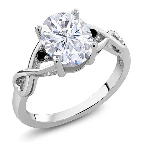 925 Sterling Silver Fashion Right-Hand Ring Forever Classic Oval 2.10ct (DEW) Created Moissanite by Charles & Colvard and Diamond -