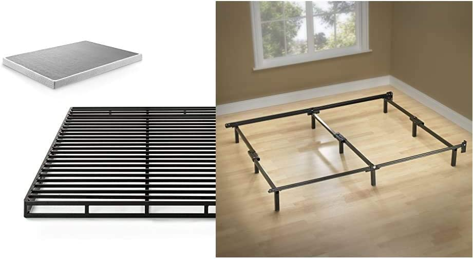 Zinus 4 Inch Low Profile Quick Lock Smart Box Spring/Mattress Foundation/Strong Steel Structure/Easy Assembly, King & Michelle Compack 9-Leg Support Bed Frame, for Box Spring and Mattress Set, King