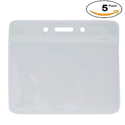 amazon com clear horizontal vinyl standard id badge holder credit