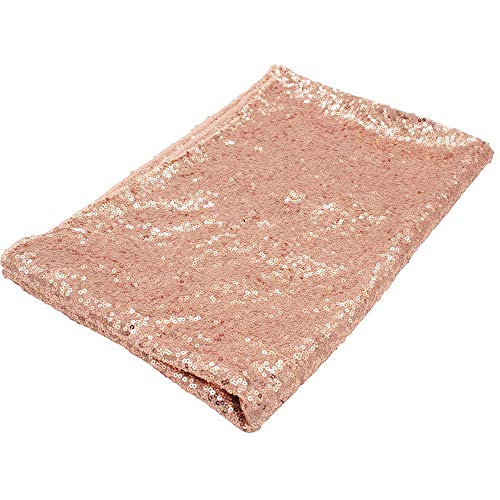 COOCOl Great Sequin Tablecloth Glitter Round Rectangular Embroidered Sequin Table Cloth for Wedding Cake Party Decoration,Rose Gold,47X71Inch-120X180Cm (Kohls Wreaths)