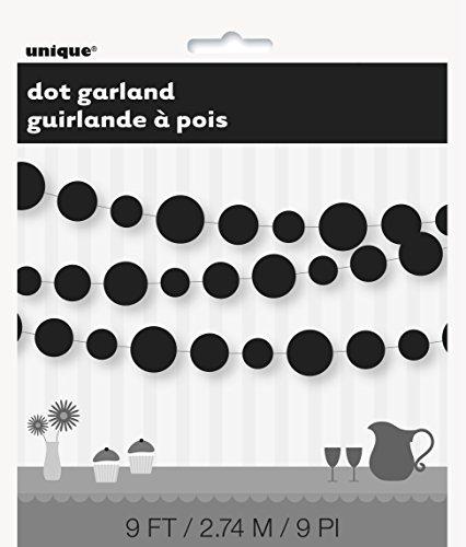 9ft Paper Black Circle Garland