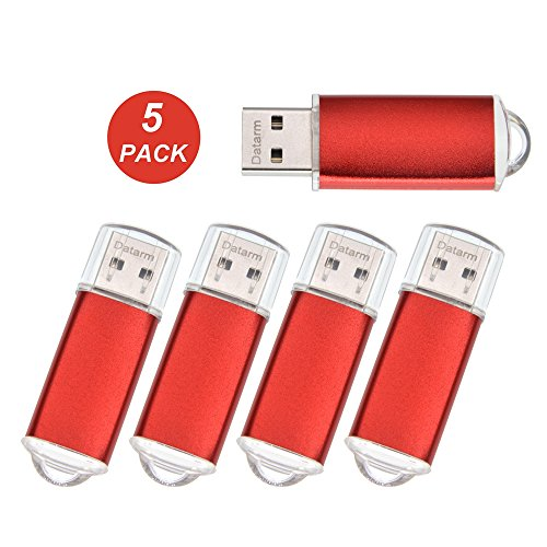 128M USB 2.0 Flash Drive Bulk Pack of 5 Pendrives - Mini Metal USB 2.0 Memory Stick Zip Drive - Jump Drive Portable Small Storage in Red by Datarm