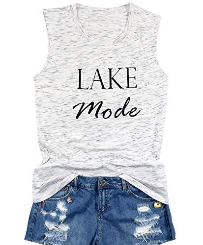 (Lake Mode Tank Tops Women Funny Letter Print Summer Sleeveless Vacation Beach Shirt Tees Top Size L (Light Grey))