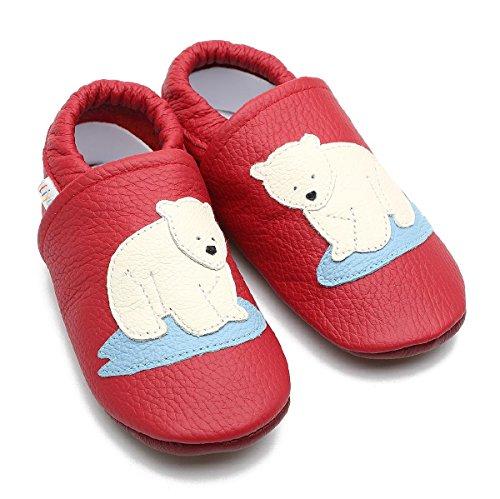 En S nbsp; nbsp;– Chaussons Rouge 674 Cuir Chaussures Pour Bébé Puschen nbsp;ours Liya's Polaire Liya YAaqxwZ