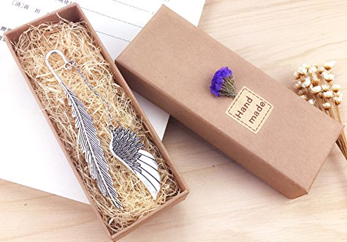 eMosQ Classic Metal Brass Creative Handmade Feathers Bookmark Beautifully Gift Boxed (wing-silver)