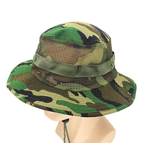 Y56 - Gorra de camuflaje ajustable para hombre, para camuflaje, para camping, al aire libre, camping, pescador, ejército nepaleso, capó, al aire libre, pescador, protección solar, cubo de malla para c E