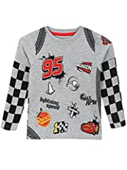 Boys Disney Cars T-shirt. Race to your next adventure at Lightning Speed in this awesome Cars long sleeve top. Featuring various symbols from the popular Disney movie franchise, including an embroidered badge of Lightning McQueen and tyre tra...