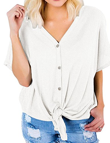 Lalala Women's Henley Shirts Casual Front Tie High Low Summer Tops Blouse (Button Tie)