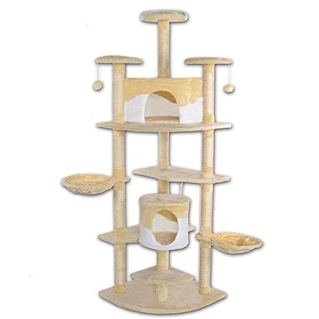 Dibea KB00704 XXL Árbol Rinconero Rascador para Gatos, Altura 200 Cm, Escalador Grande Beige y Blanco: Amazon.es: Productos para mascotas