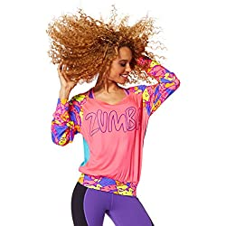 Zumba Women's Be Bold Boat Neck Pullover, Gumball, XX-Large