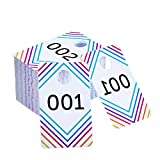Frienda 100 Pieces Live Sale Number Tags Plastic with Normal and Reversed Mirrored Numbers 100 Consecutive Numbers (001-100)