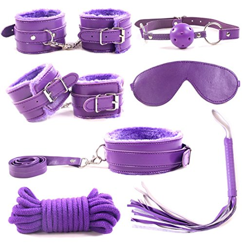 Whips And Chains Costume (Layhome 1Set 7PC S&M Tools SM Shackles Chain Handcuffs Whip Eye Mask Rope Soft Plush (Purple))