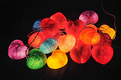 String Lights Colorful Cotton Ball 20 Heart String Lights Patio Wedding Hanging Party Bedroom Fairy Lights Indoor String Lights Colors Pink Yellow Green Blue Red Orange Purple