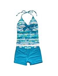 dPois Kids Big Girls Two-Pieces Tankini Swimsuit Sets Halter Hawaii Swimsuit Tops with Boyshorts Outfit Bathing Suit