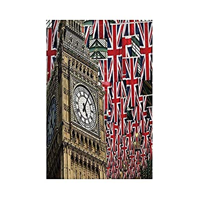 Polyester Garden Flag Outdoor Flag House Flag Banner,Union Jack,UK Flags Background with Big Ben Festive Celebrations Loyalty,Light Coffee Navy Blue Red,for Wedding Anniversary Home Outdoor Garden Dec