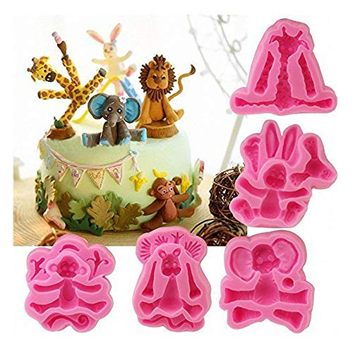 5-Pack Africa Animals Fondant Molds Set- MoldFun Zoo Themed Giraffe Rabbit Elephant Lion Monkey Silicone Mold for Kids Birthday Cake Topper Decorating