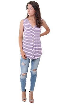 4a335e8442703d Bibi Tops V Neck Striped Button Down Purple/White Tank Top - Purple/White