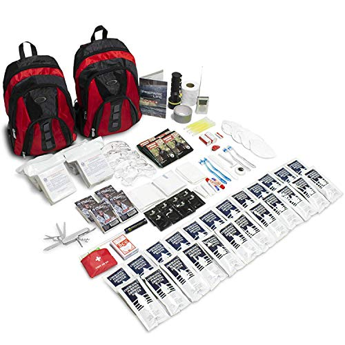 (Emergency Zone The Essentials Complete Deluxe Survival 72-Hour Kit, Prepare Your Family for Hurricanes, Earthquakes, FLOODS, Emergency Disaster Go Bag- Available in 2 & 4 Person, Red or Black Bag)