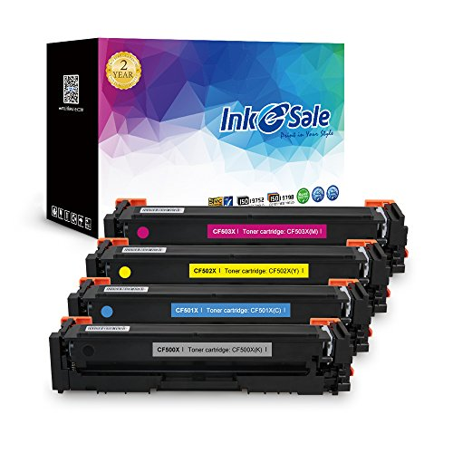 Printer Series 2500 Color (INK E-SALE Toner Cartridge Replacement for HP 202X CF500X CF500A CF501X CF502X CF503X Toner Cartridge High Yield Color Set for HP M254 MFP M281 MFP M280-4 Pack Black Cyan Magenta Yellow with Chip)