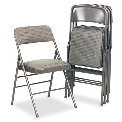 BRIDGEPORT 36885CVG4 Deluxe Fabric Padded Seat & Back Folding Chairs, Cavallaro Dark Gray, - Stores Bridgeport
