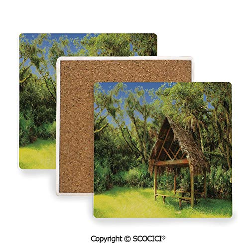 Ceramic coaster With wood Bottom Protection, For Mugs, Wine Glasses, Protects Furniture Square,Tiki Bar Decor,Tiki Hut in Dreamy Fantasy Forest Tropical,3.9