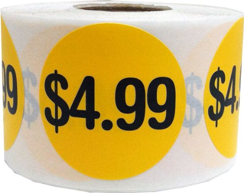 $4.99 Price Point Stickers - Round Yellow and Black Retail Store Self Adhesive Labels - 500 Total Labels