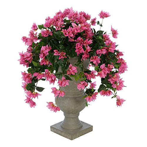 House of Silk Flowers Faux Bougainvillea in Grey Roman Urn Planter (Orchid Pink)