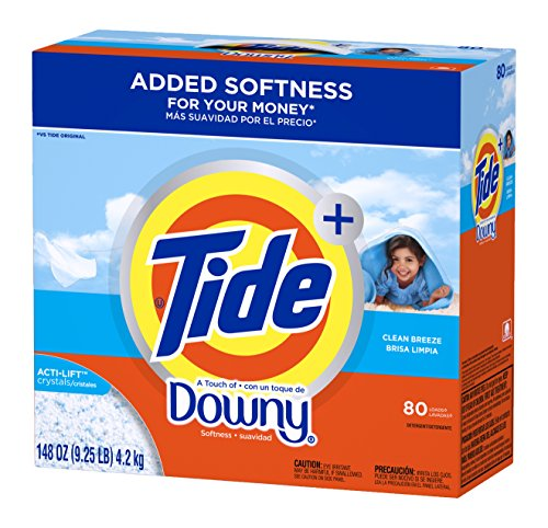 Tide Ultra Plus A Touch Of Downy Clean Breeze Scent Powder Laundry Detergent, 80 Loads, 148 oz