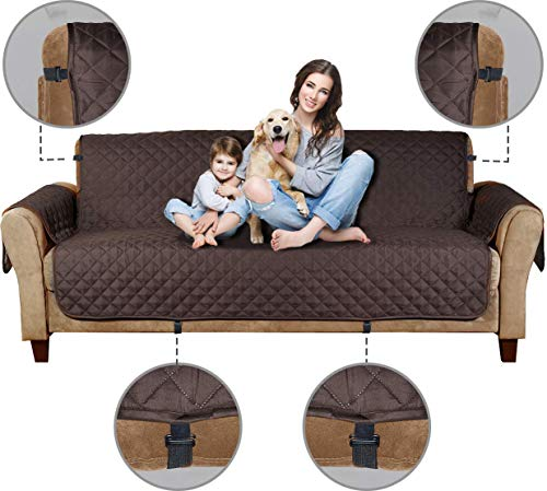 """Le Benton Reversible Extra Wide Sofa Cover, Up to 88"""" Seat Width, Non-Slip 3-Strap for Maximum Results, Adjustable Pet Couch Slipcover, Machine Washable - Brown/Taupe"""