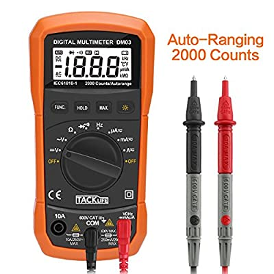 Tacklife DM03 Classic Digital Multimeter 2000 Counts Auto Ranging Multi Meter Electronic Measure Instrument DC/ AC Voltage & Current Detector Portable Continuity Test - Ideal Father's Day Gift