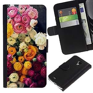 Planetar® Modelo colorido cuero carpeta tirón caso cubierta piel Holster Funda protección Para Samsung Galaxy S4 Mini i9190 / i9195 (Not For S4) ( Bouquet Pink White )