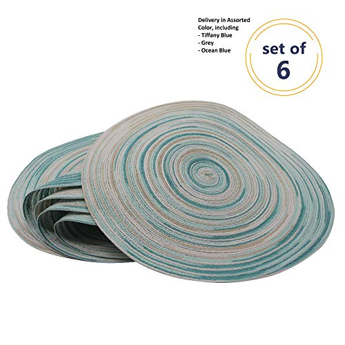 Chopmaster Round Place mats for Kitchen Dining Table Runner Heat Insulation Washable Set of 6 (Tiffany ()