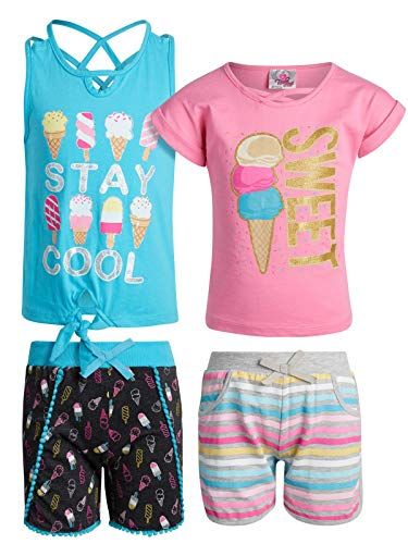 Real Love Girl\'s 4-Piece French Terry Short Sets (Sweet/Stay Cool, - Girls Shorts Terry