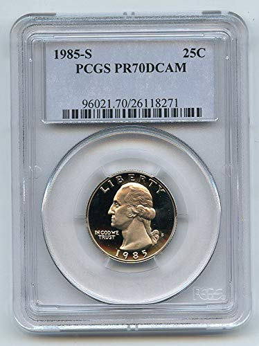 (1985 S Washington Quarter 1985 S 25C Washington Quarter Proof PCGS PR70DCAM Quarter PR-70 PCGS DCAM)