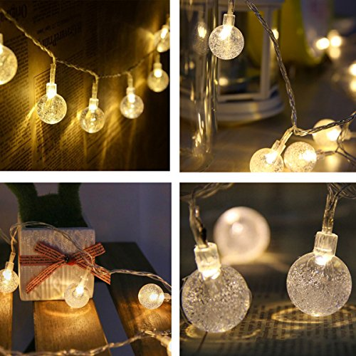 Naisidier Globe String Lights 40 LED 20Ft Crystal Ball String Lights, Battery Powered with 2 Light Modes - Outdoor & Indoor Christmas Fairy Lights for Home Patio Decoration (Warm White) (Present Bubbles Christmas)