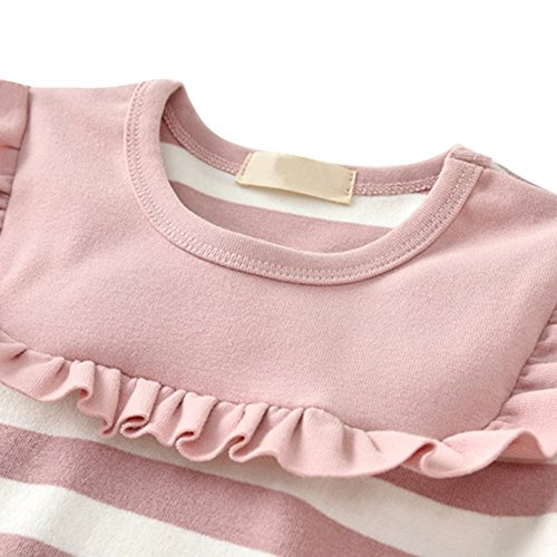 Stripe Toddler Tutu Baby Party Dresses Skirts Pink Princess Long Crewneck Sleeve Girl's Weixinbuy xg4YqwaY