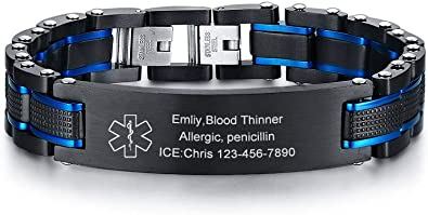 VNOX Free Engraving-Unisex 2 Tone Brushed Stainless Steel Medical Alert ID Adjustable Bracelet Wristband