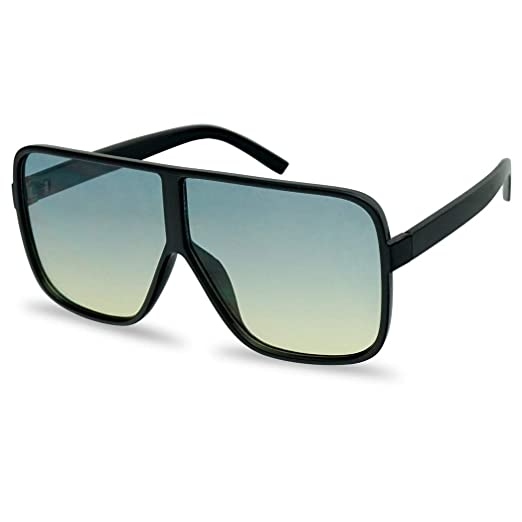 1eb776f7ad5 Oversized Flat Top Square Round Two Tone Flat Color Lens Aviator Sunglasses  (Black Blue