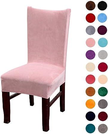 Coprisedia elasticizzato in soffice velluto, a tinta unita, grande, per la protezione delle sedie della casa Confezione da 4 rosa