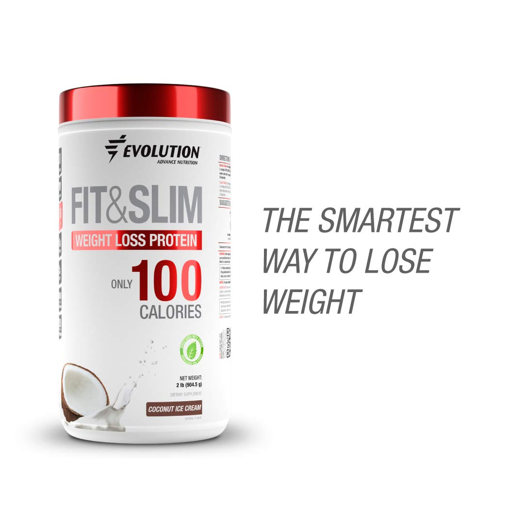 Evolution Low Carb Fit and Slim Grass Fed Whey Protein - High Fiber - Keto Approved - Stevia Sweetened - Only 100 Kcal per Serving - 2 Pounds - 30 Servings - Award Winning Taste Coconut by EVOLUTION ADVANCE NUTRITION