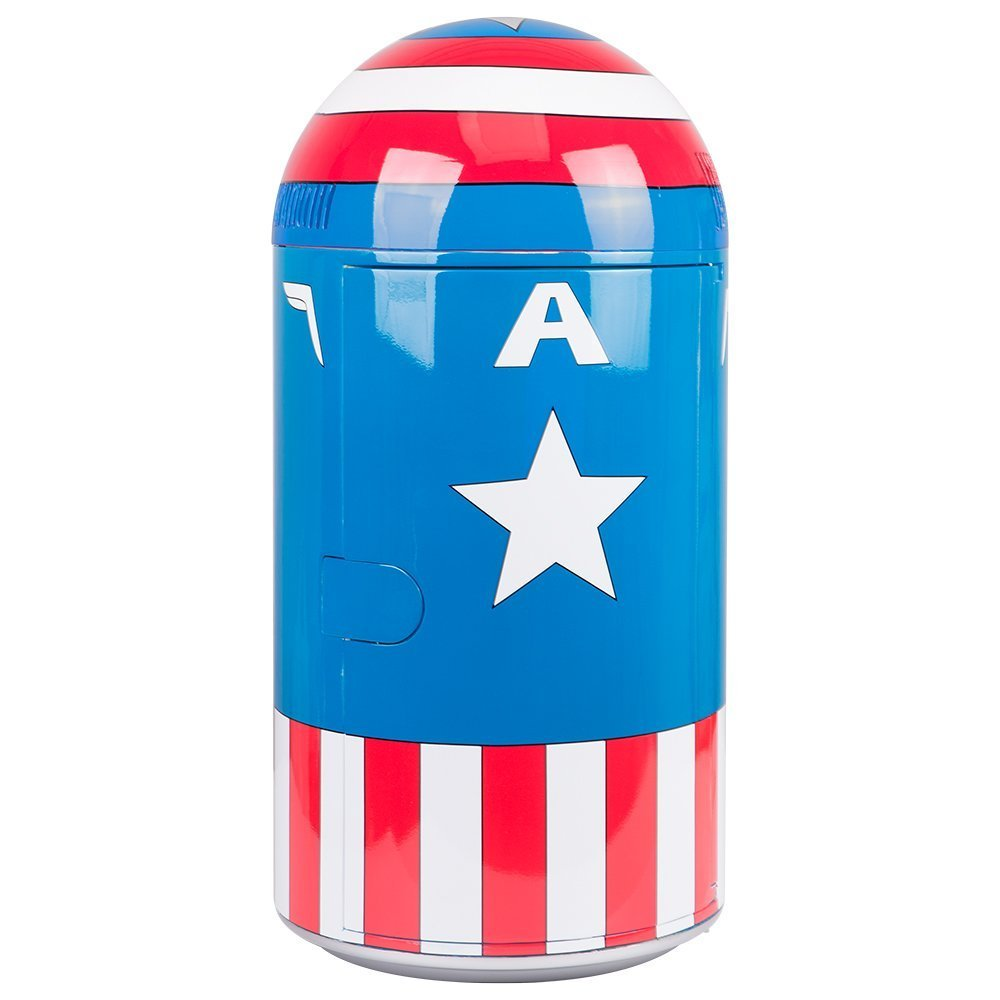 Marvel Comics Captain America Vintage Uniform Pattern Thermoelectric Cooler Mini Fridge, red/White/Blue, 14 L Ukonic 12573